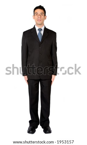business man standing very still over white - stock photo