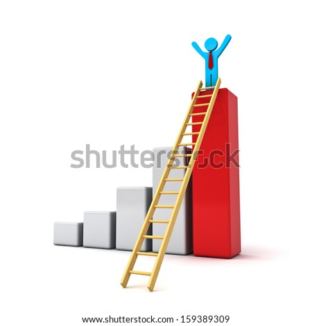 Business man standing with arms wide open on top of growth business red bar graph with wood ladder isolated over white background - stock photo