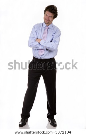 business man standing with his hand folded on white background