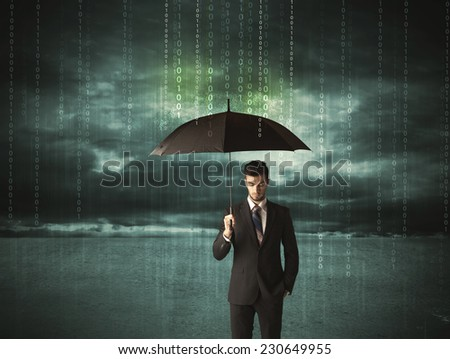Business man standing with umbrella data protection concept on background  - stock photo
