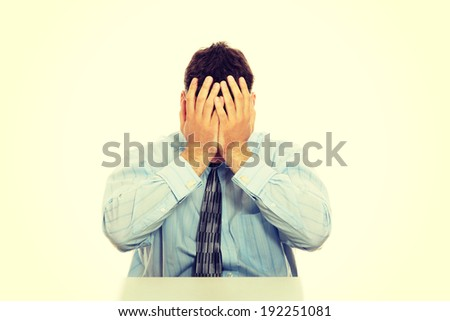 Business man stress or depression - stock photo