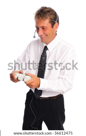 business man taking a break to play video games set on a white background - stock photo