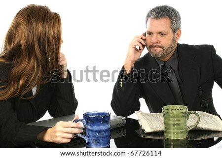 Business man taking an important call. - stock photo