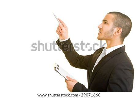 Business man taking inventory - stock photo
