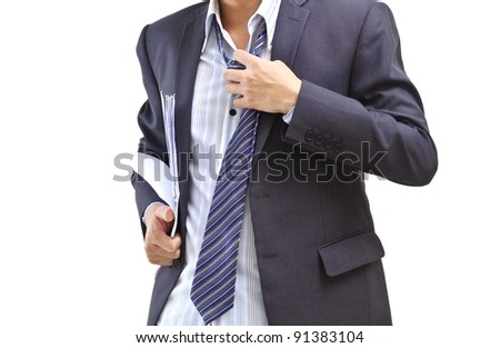 Business man taking off his tie after work isolated on white - stock photo