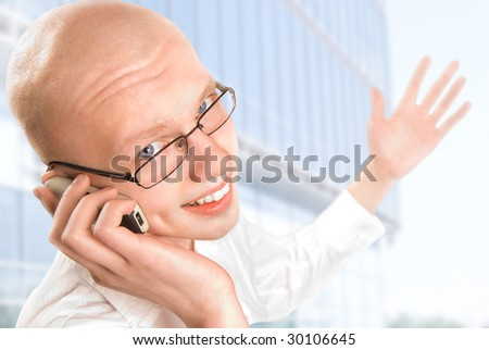 Business man talking on phone - stock photo