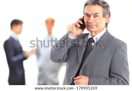 Business man talking on the phone - stock photo