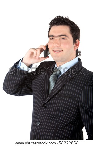 Business man talking on the phone isolated over a white background