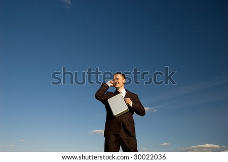 Business man talking phone - stock photo