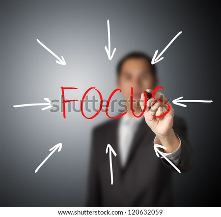 business man target on focus - stock photo