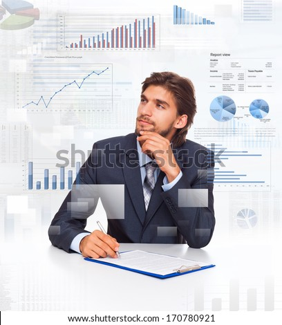 business man think look at financial diagram, charts sitting at desk sign contract, businessman with graph documents, papers, ponder