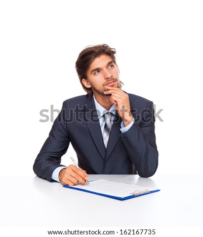 business man think look up sitting at desk sign contract, businessman with documents, papers, handwriting ponder isolated over white background - stock photo