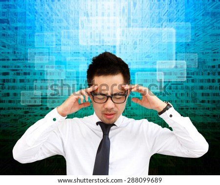 Business man thinking an imaginary screen. - stock photo