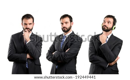 business man thinking over white background  - stock photo
