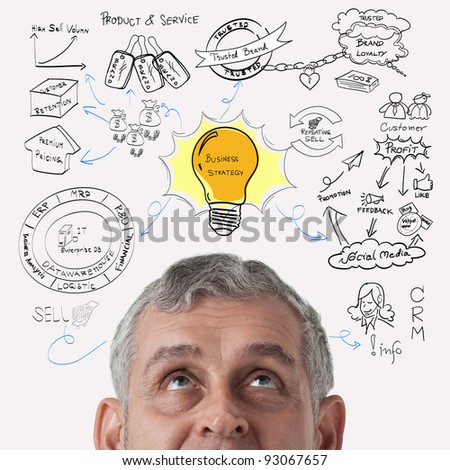 Business man thinking to business process strategy - stock photo