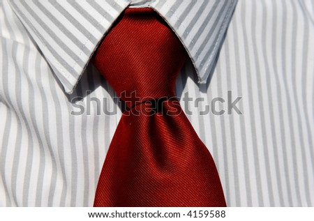 Business man tie isolated on white and grey shirt - stock photo