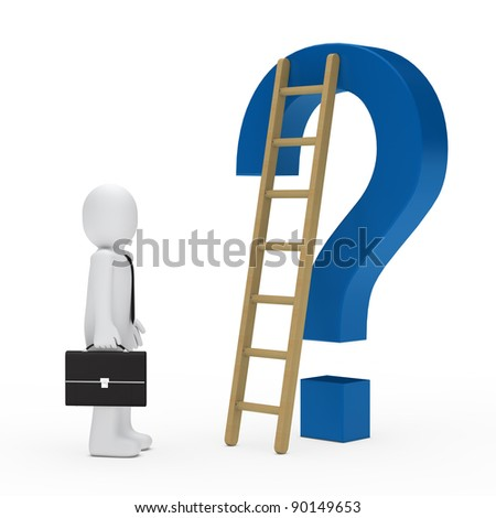 business man tie question mark blue ladder