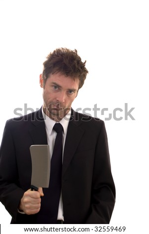 business man tipped over the edge holding meat cleaver - stock photo