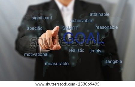 business man touch goal word - stock photo