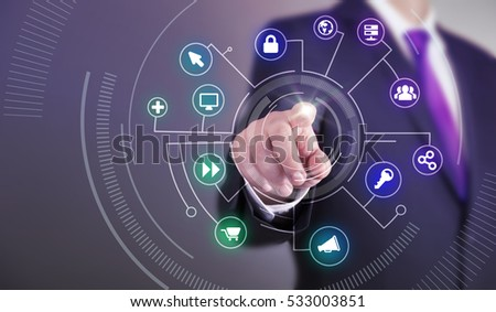 Business man touch screen concept - Network