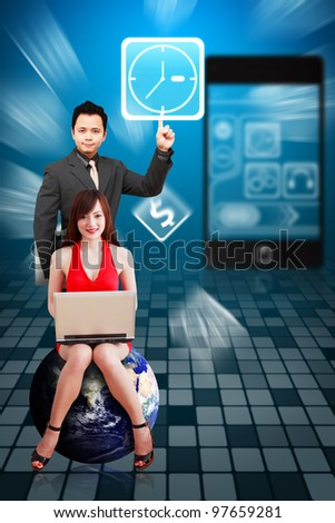 Business man touch the Clock icon from mobile phone : Elements of this image furnished by NASA