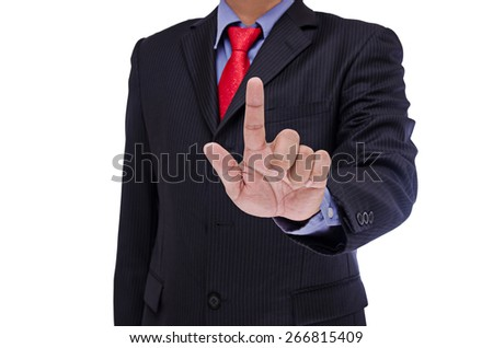 business man touch virtual screen isolated on white background - stock photo