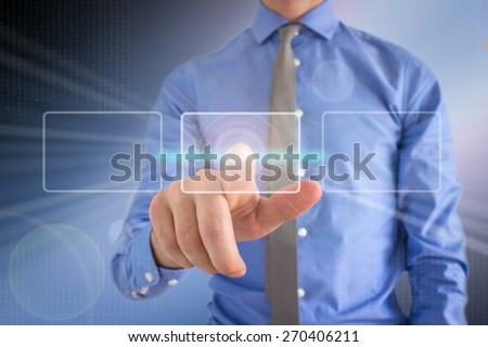 Business Man Touching A Touch Screen
