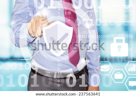 business man touching data security interface - stock photo