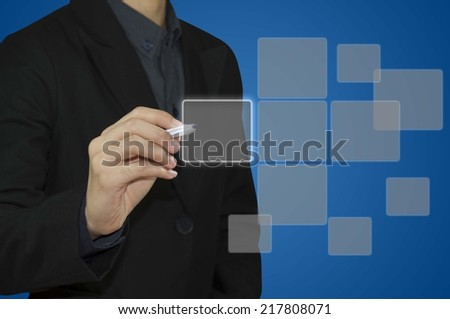 Business man touching on touch screen computer.