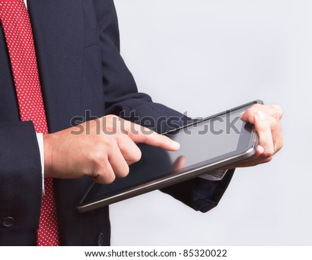 business man touching tablet pc , New Technology - stock photo