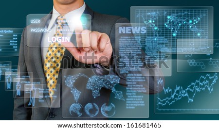business man  touching  transparency glass display - stock photo