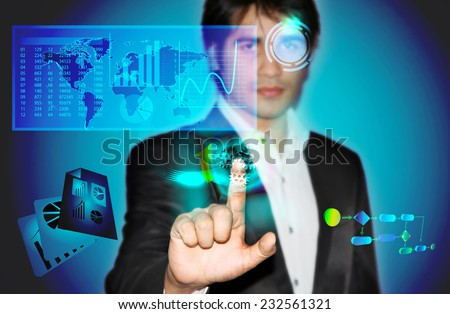 Business man touching virtual screen with business data and process - stock photo