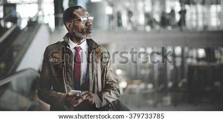 Business Man Traveling Terminal Concept - stock photo