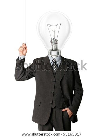 business man turn on hith bulb head and have got an idea - stock photo