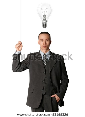 business man turn on the light and have got an idea - stock photo
