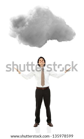 Business man under a cloud with arms open - isolated over white - stock photo