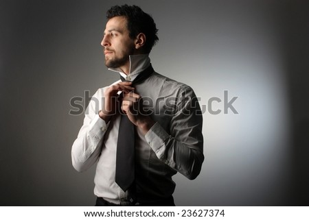 business man undress - stock photo