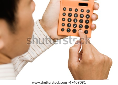 Business man use calculator on white background.
