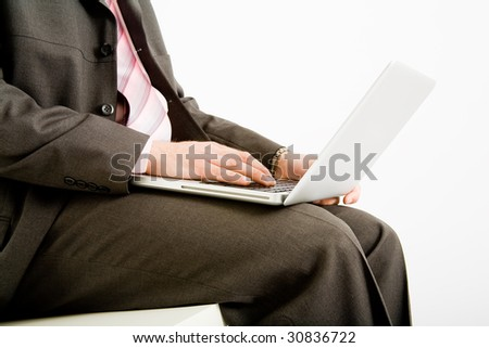 Business man use the laptop computer