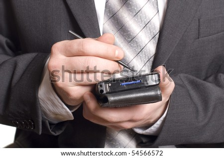 business man using a pda