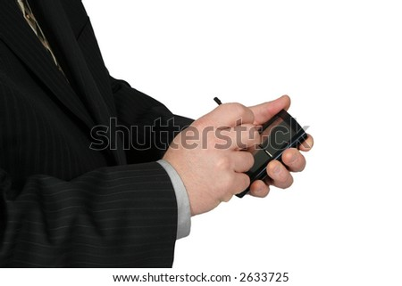 Business Man using a PDA with white background - stock photo