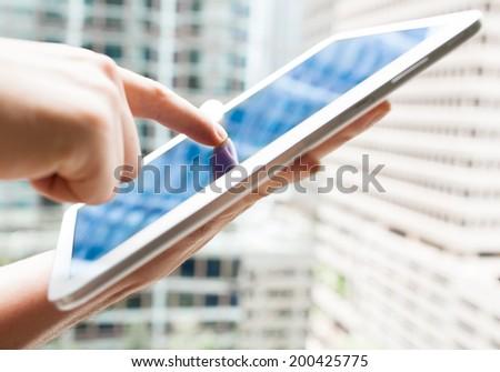 Business man using digital tablet computer. - stock photo