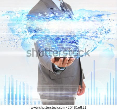 business man using tablet computer internet technology, businessman communication network with digital pad over abstract blue background - stock photo