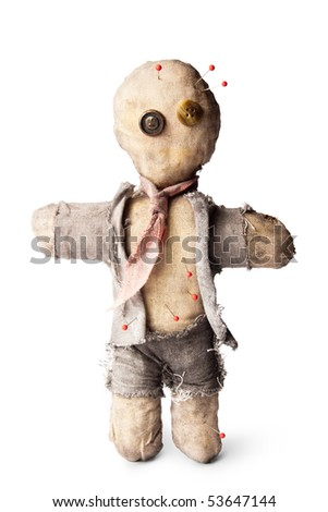 business man voodoo doll with needles on white - stock photo