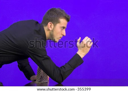 business man waiting for a challenger - stock photo