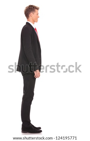 Business man waiting in queue on white background - stock photo