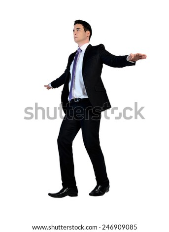 Business man walk on imaginary rope - stock photo