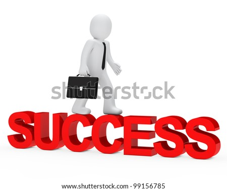 business man walk over red success word - stock photo
