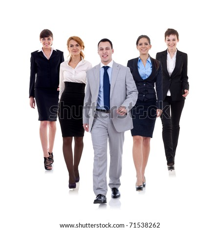 business man walking and leading his team isolated over a white background - stock photo