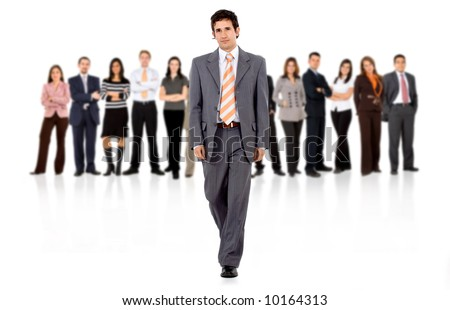 business man walking and leading the team in front of the group isolated over a white background